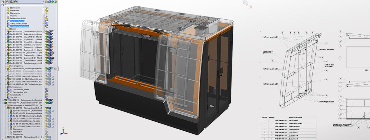 Konstruktion Lasermaschine MicroStruct und technische Dokumentation