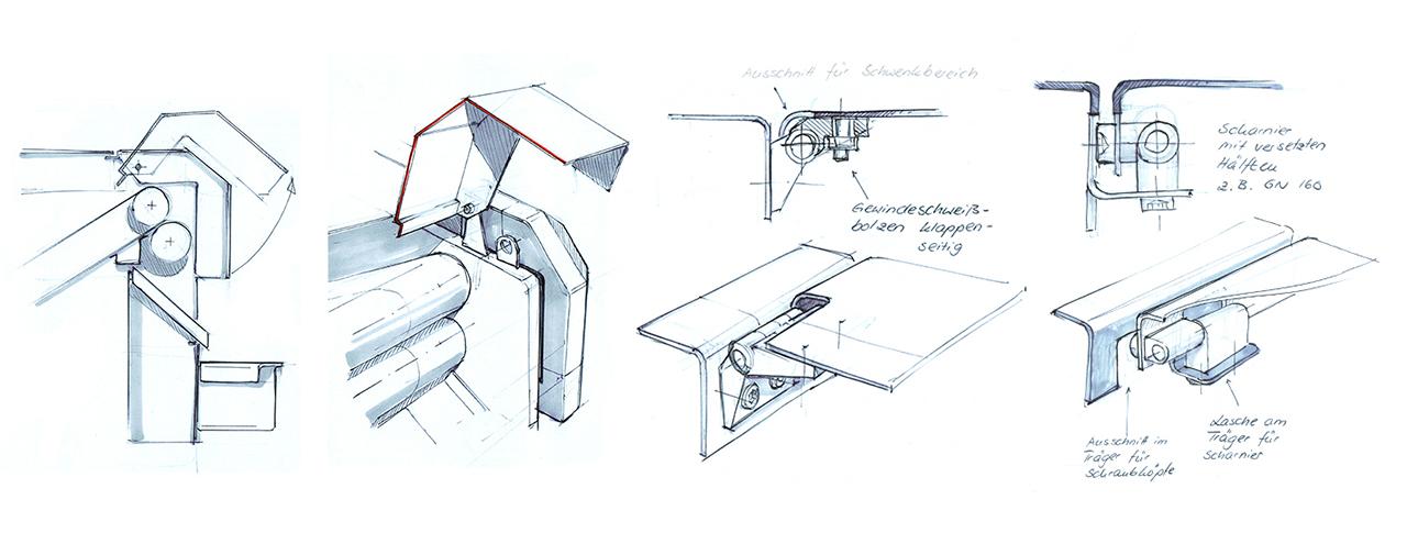 kinematische Skizzen Maschinengehäuse