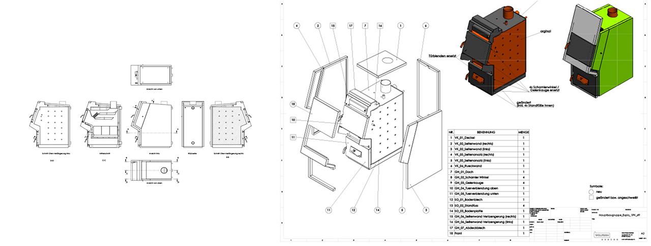 Blechkonstruktion und Fertigungszeichnungen für Heizkessel
